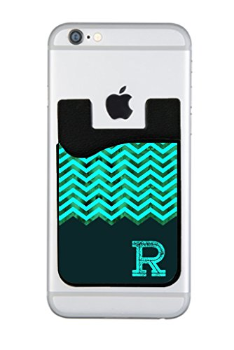 Aqua Mesh Chevron Rosie Parker Inc. CUSTOMIZABLE Black Silicon Card Holder for Cell Phones - Parker Mesh