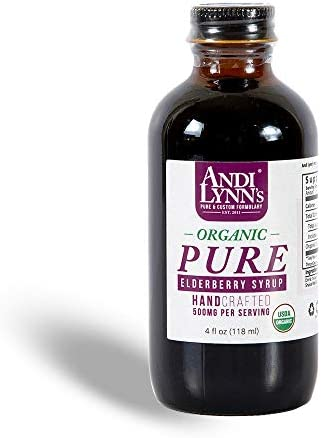 Andi Lynn s Pure Black Elderberry Syrup with Honey – Original Sambucus for Immune Support Fast Acting 500 mg per Serving, High Potency Therapeutic Immune Active Syrup, 4 Ounces