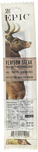 Epic 100% Grass Fed Venison Sea Salt & Pepper Steak Strip, 0.8 Ounce (Pack of 10)