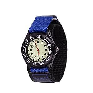 Wolfteeth Grade School Kids Boys Portable Army Military Wrist Watch Time Teacher, Nylon Hook & Loop Strap Blue 304203F