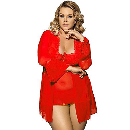 Myhope Donna lingerie kimono filato pizzo esca camicia da notte tre pezzi manica Plus Size , m