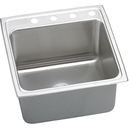 Elkay DLR2222121 1-Hole Gourmet Single Basin Drop-In Stainless Steel Kitchen Sink, 22-Inch x - Gourmet Basin
