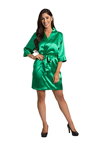 Zynotti Womens Emerald Satin Blank Robe 3X/4X ()