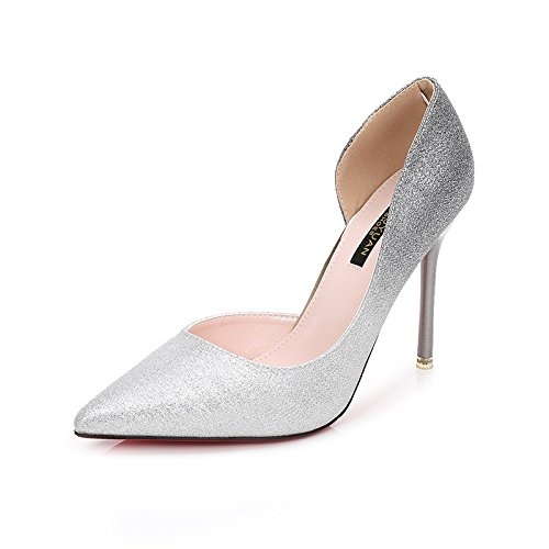 And Female Shoes 10Cm High Champagne By Wedding Single Mother GTVERNH Silver The Shoes Heels Banquet Tip Crystal Shoes Sequins Fine Bridal 38 Accompanied Work The qx8wR
