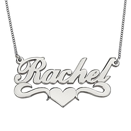 Letter Pendant Nameplate (AOCHEE Personalized Names Necklace Monogram Letter Pendant Love Heart Nameplate Necklace (Silver))