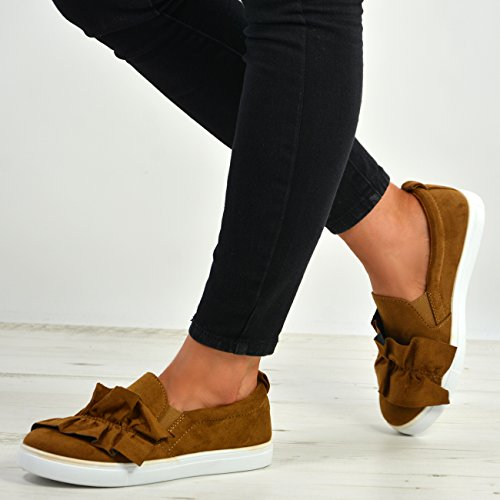 Bow Size Womens New Camel On Cucu Shoes UK 3 Slip Trainers Flats Comfy Ladies Sneakers Fashion 8 FHwtSt