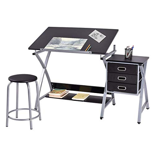 TANGKULA Drafting Table Art & Craft Drawing Desk Art Hobby Folding Adjustable w/Stool (Black)