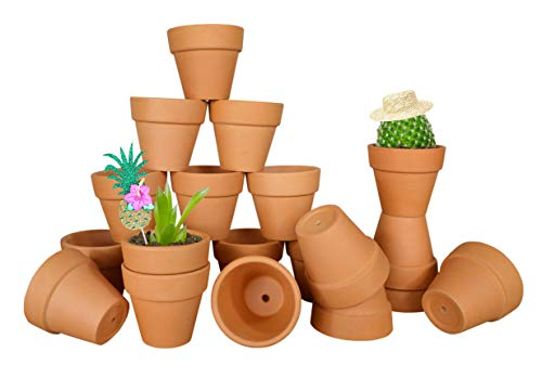 My Urban Crafts 20 Pcs Small Mini Clay Pots 2.1'' Mini Terracotta Pots Clay Ceramic Pottery Planter Cactus Flower Pots Succulent Nursery Pots - Great for Indoor/Outdoor Plants, Crafts, Wedding -