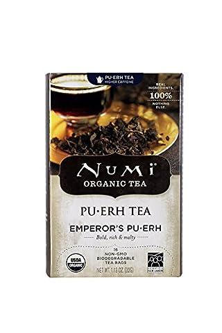 Numi Organic Tea Emperor's Pu-erh, Full Leaf Black Pu-erh Tea, 16-Count non-GMO Tea Bags (Pack of - Numi Black Organic Tea