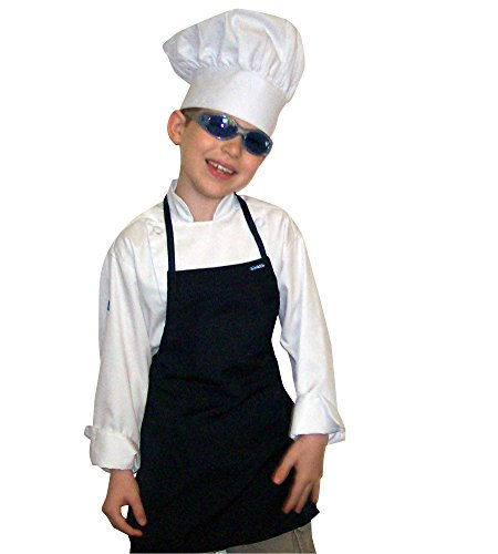 CHEFSKIN Costume Set Kids Children Chef Jacket + Apron +Hat Set Excellent for School, Halloween, Plays OR Birthday Party Favor (Choose Jacket Size - Apron and hat Color)]()