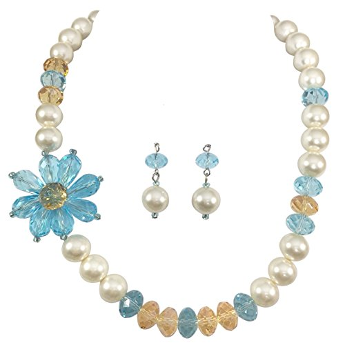 Gypsy Jewels Imitation Pearl Beaded Flower Necklace And Earrings Set (Screw Back Clip On Earrings) (Necklace Pearls Floral Imitation)