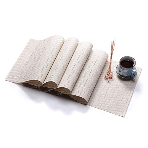 BeesClover Creative Lifestyle - Camino de Mesa de PVC (imitacion de bambu), Creamy White, 135X30cm (Single Weight 225g)