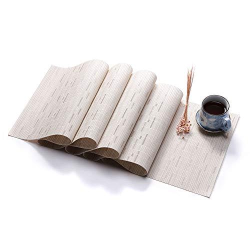 BeesClover Creative Lifestyle - Camino de Mesa de PVC (imitacion de bambu), Creamy White, 135X30cm (Single Weight 225g)