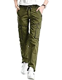 Women's Cotton Casual Drawstring Elastic Waist Straight Leg Multi Pockets Cargo Pants