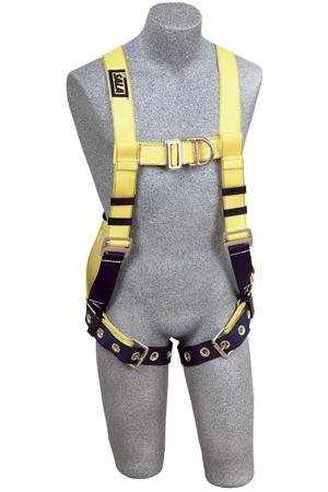 3M DBI-SALA Delta 1107807 Vest Style Harness, Front/Back D-Ring, Loops For Belt, Tongue Buckle Leg Straps, Medium, Navy/Yellow