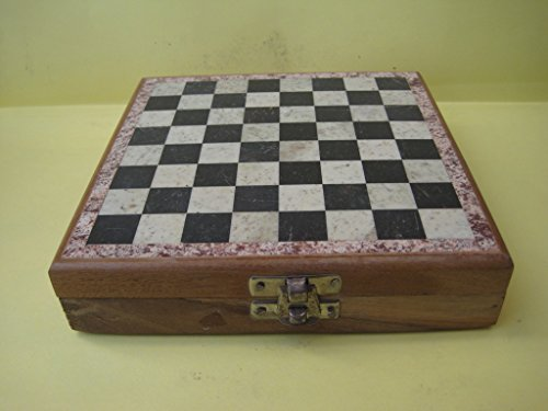 Indian 32 pieces Xian Soapstone Warrior with Chess Board 6″inch Size 6″ X 6″ inch Quantity : 1