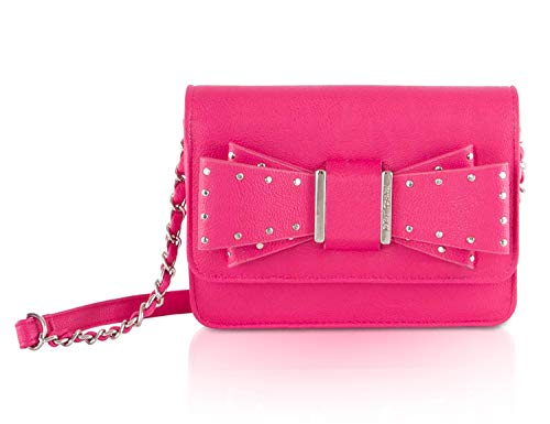 Betsey Johnson Evening (Betsey Johnson Stud Bow Foldover Crossbody Messenger Shoulder Bag - Fuschia)