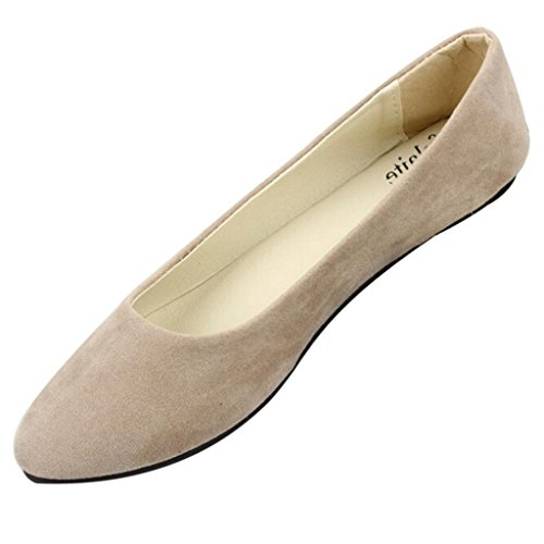 Maybest Mujer Suede Point Head Casual Bombas Planas Ladies Work Girls School Dolly Zapatos Khaki