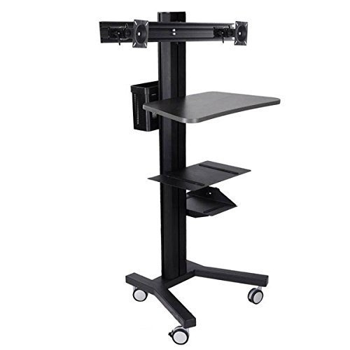LEESONS Portable DUAL-Monitor Holder PC Mobile Cart Computer Printer Workstation - Black by Leesons Inc