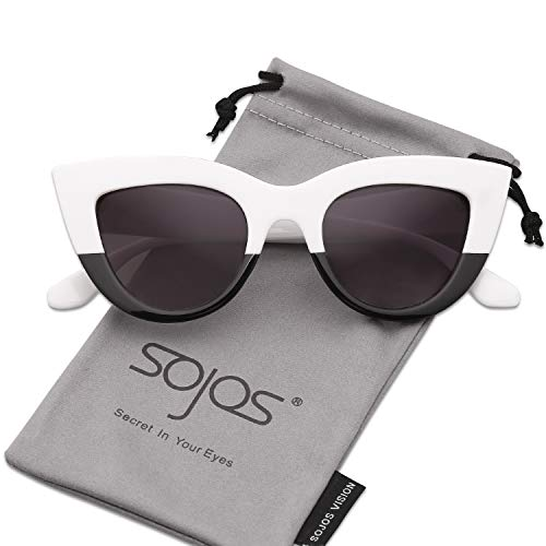 SOJOS Retro Vintage Cateye Sunglasses for Women Plastic Frame Mirrored Lens SJ2939 with White&Black Frame/Grey ()
