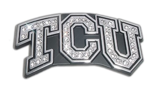 (TCU Texas Christian University Horned Frogs Austrian Crystals & Chrome NCAA College Sports Premium Metal Car Truck Motorcycle Emblem)