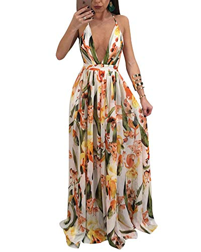 Satin Sundress - Women's Floral Long Maxi Dresses - V Neck Backless Strap Boho Summer Beach Party Dresses