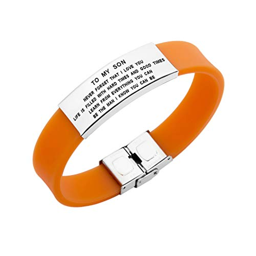 Freedom Love Gift To My Son Never Forget That I Love You Boys Bracelet Jewelry Gift Idea from Dad and Mom (Orange) by Freedom Love Gift