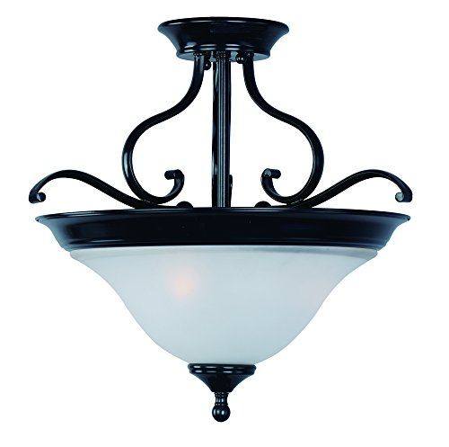 Maxim 11801ICBK Linda 3-Light Semi-Flush Mount, Black Finish, Ice Glass, MB Incandescent Incandescent Bulb , 60W Max., Dry Safety Rating, Standard Dimmable, Metal Shade Material, Rated - Online Linda