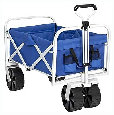 PROGLEAM > Wheelbarrow Cart Wagon, Folding Sturdy Utility Wagon Garden Beach Cart