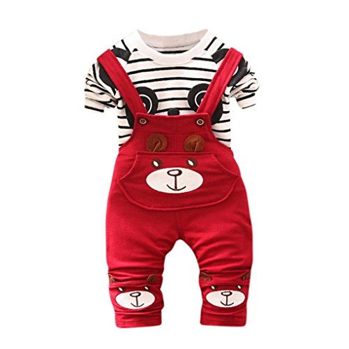 Baby Clothes Set for 0-2 Years Old,Toddler Infant Boys Girls Panda Print Stripe Tops+Pants Overalls Outfit Suits (0-6 Months, Red)