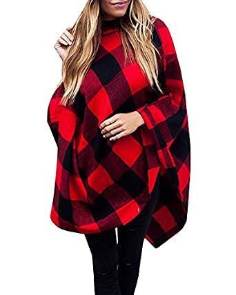 Inorin Poncho Tops For Women Ponchos Plaid Oversized Cashmere Fall Sweaters Pullover