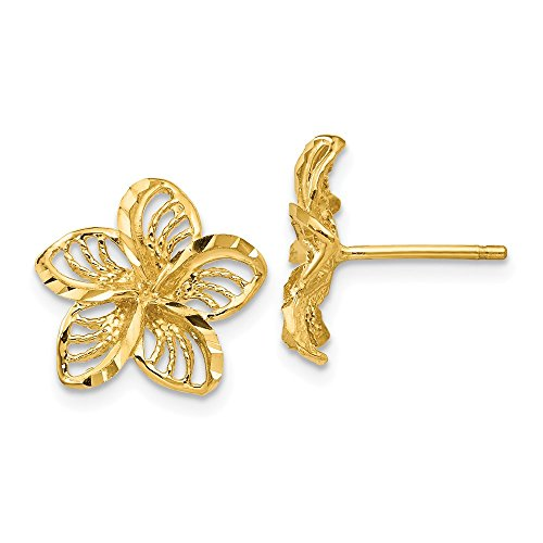 14k Yellow Gold Filigree Plumeria Post Stud Earrings Ball Button Flower Gardening Fine Jewelry Gifts For Women For Her