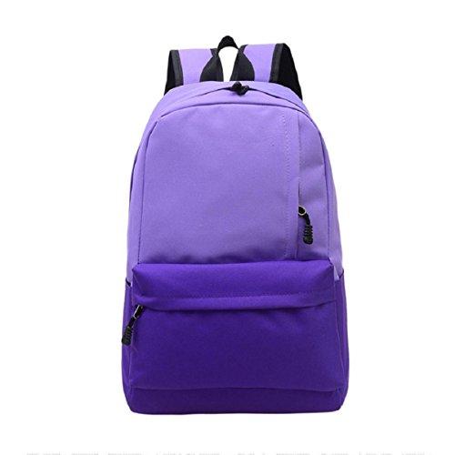 Lookatool Unisex Vintage Canvas Backpack Rucksack School Satchel Hiking Bag Bookbag (Purple)