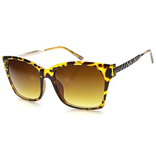 Womens Square Sunglasses With UV400 Protected Gradient Lens (Tortoise-Gold/Amber)