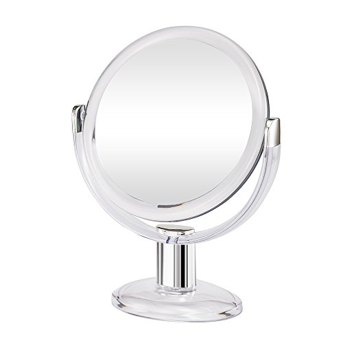 (Gotofine Double Sided Magnifying Makeup Mirror, 1X & 10X Magnification with 360 Degree Rotation- Clear & Transparent )