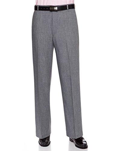 Cuff Dress Pants - RGM Mens Flat Front Dress Pants – Wool Blend Long Formal Pants for Men, Made in US Heather Grey 36 Medium