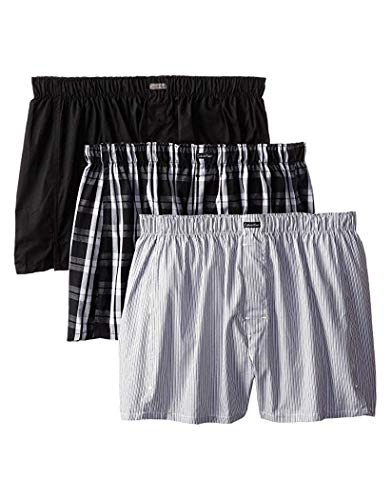Calvin Klein Men's Cotton Classics Multipack Woven Boxers, Montague Stripe/Black/Morgan Plaid, Medium