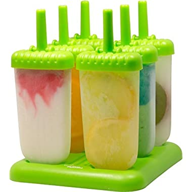 Kitchen Paradise Ice Pop Maker Popsicle Mold- Set of 6 Green Reusable, BPA free, Durable Tupperware Quality Molds with Sturdy Tray, Includes Recipe E-Book - Clearance Sale