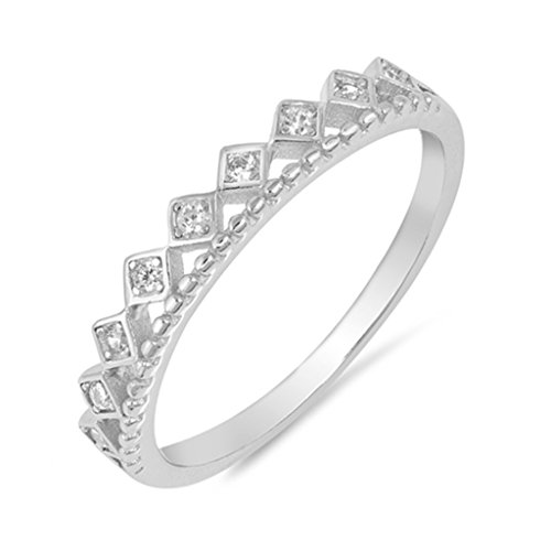 3mm Square Shape Half Eternity .925 Sterling Silver Cubic Zirconia Bead Ball Ring Size 5
