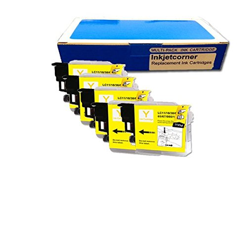 Inkjetcorner 5 Pack Yellow Replacement Ink Cartridge for Brother LC-61 LC61Y MFC-295CN MFC-490CW MFC-495CW MFC-5490CN MFC-5890CN MFC-6490CW MFC-J265w MFC-J410w MFC-J415w MFC-J615W MFC-J630W