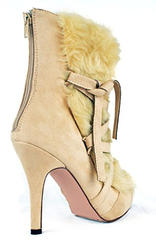 Chase & Chloe Rosy-1 Lacets Furry Bottines À Talons