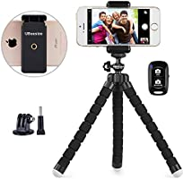 Phone Tripod, UBeesize Portable and Adjustable Camera Stand Holder with Wireless Remote and Universal Clip, Compatible...