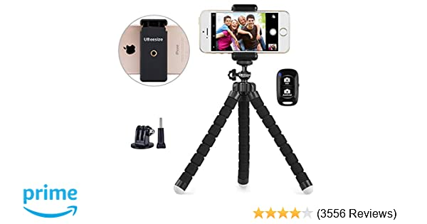 timeless design 57378 c472b Phone Tripod, UBeesize Portable and Adjustable Camera Stand Holder with  Wireless Remote and Universal Clip, Compatible with iPhone, Android Phone,  ...