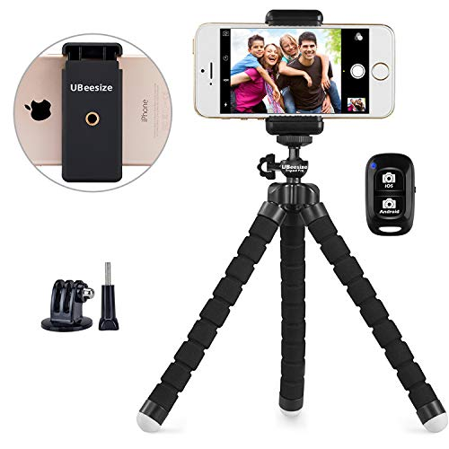 Phone Tripod, UBeesize Portable and Adjustable Camera Stand Holder with Wireless Remote and Universal Clip, Compatible with iPhone, Android Phone, Camera, Sports Camera GoPro (2018 New Version) (Smart Sharp Phone)