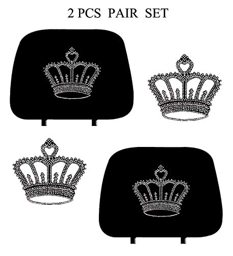 (KAAA ALLBrand Car Truck Cross Crystal Bling Rhinestone Studded Seat Headrest Covers - Pair (Crown/Black))