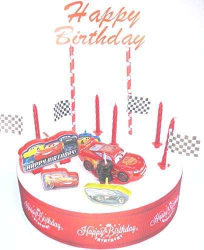Amazing Osk Disney Cars Lightning Mcqueen Birthday Cake Decoration Set Funny Birthday Cards Online Fluifree Goldxyz