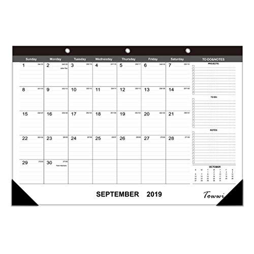 (TOWWI 2019 - 2020 Year Monthly Desk Pad Calendar, 16.8