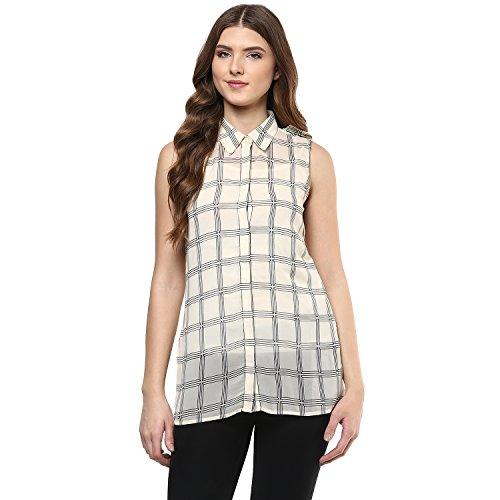 109 F Women Polyester Checkered Shirt Ivory
