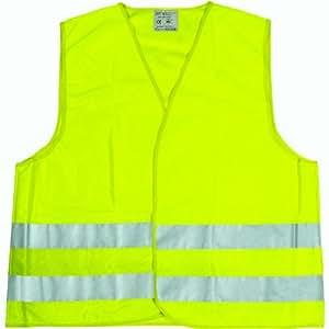 Cartrend 50130 Chaleco reflectante de averías amarillo tamaño L, DIN EN 20471 en práctica bolsa textil con cierre de cremallera