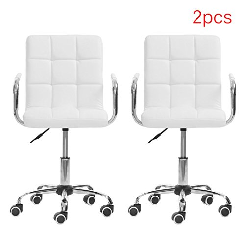 Belovedkai Modern Hydraulic Swivel Chair Home Office Desk Chair Height Adjustable Rolling Barstools Armchair, Set of 2 (White)